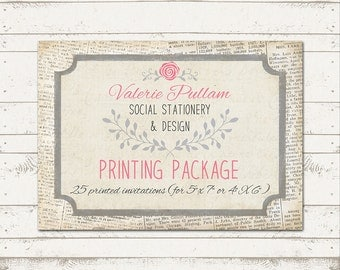 5X7 Professionally Press Printed Invitations - Printed on Cardstock - Quantity 25 - with envelopes
