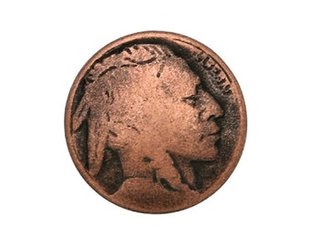 100 Tiny Indian Head 7/16 inch ( 11 mm ) Metal Buttons Copper Color