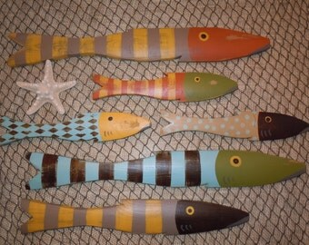 School of 6 Fish - Art Hand Painted Reclaimed Wood Beach Cottage Cabin Decor
