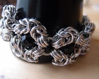 Alnair Blue Goldstone Chainmaille Romanov Weave 7 Inch Bracelet