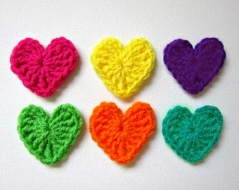 "6pcs 2"" Crochet BRIGHT Color HEART Applique"