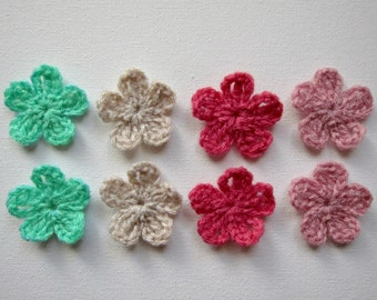 "8pc 1.5"" Crochet Five Petal FLOWER Applique"