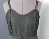 Black Full Slip / Vtg 50s / Barbizon Lace Trimmed Black Full Slip w Adjustable Straps / Modern Size 10