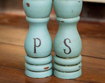 Pick a  COLOR, ANY COLOR - Painted,Distressed, Wooden Salt and Pepper Shaker Set -Annie Sloan Chalk Paint - Shabby Chic Kitchen