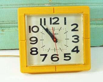 Vintage Retro Yellow Timex Electric Wall Clock