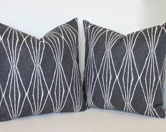 Charcoal grey pillow cover. Modern geometric Robert Allen Handcut Shapes. Handmade pillow cover home decor accent