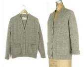 Vintage Pendelton Gray Wool Cardigan - 1960's Heather Grey Virgin Wool Sweater - Ladies Size Large