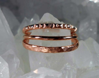 3 Copper Stacking Rings Made to Order in Your Size 4 – 12 (Half sizes, too.) set b