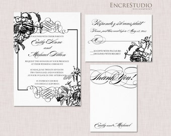 Peony Wedding Invitation Suite