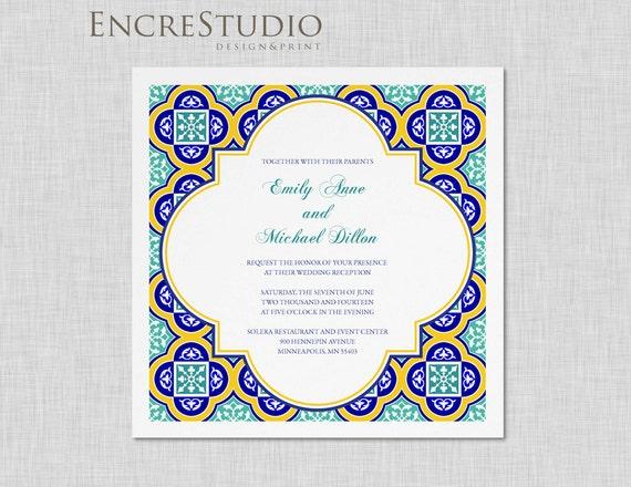 Wedding Invitation In Spanish Wording: Sample Spanish Square Tiles Wedding Invitation