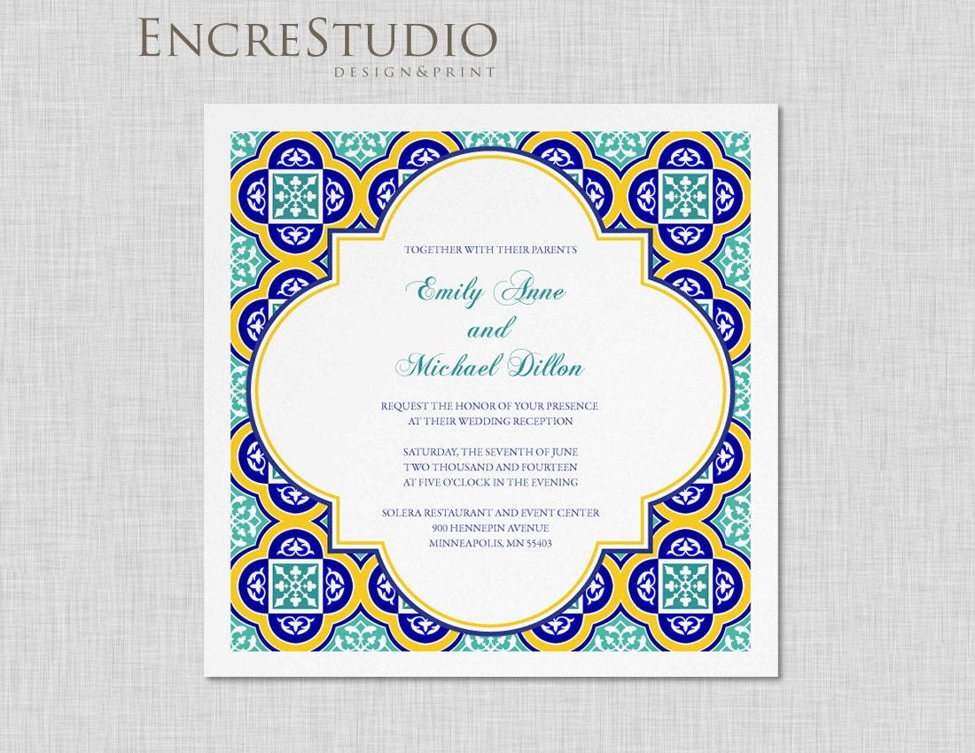 Spanish Wedding Invitations Examples: Sample Spanish Square Tiles Wedding Invitation
