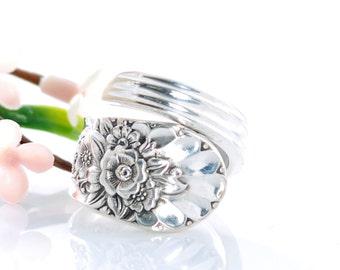 Vintage Spoon Ring - Jubilee Silverware Spoon Ring - Spoon Jewelry - Silverware Jewelry - Spoon Ring - Floral Spoon Ring (mcf  R508)
