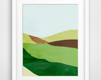 Abstract Landscape Art Print, Minimalist Poster, Mid Century Modern Art, Green Wall Art, Spring