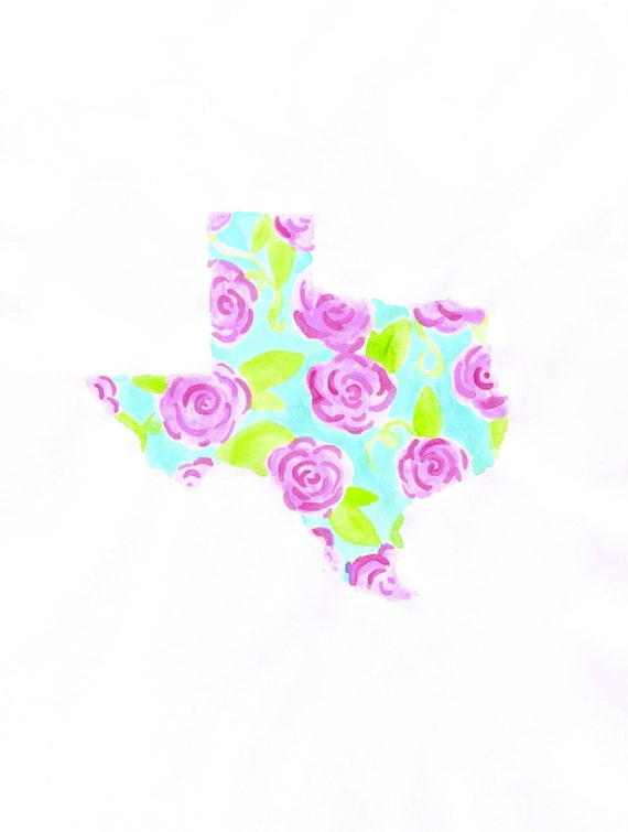 Lilly Pulitzer State of Texas Water Color