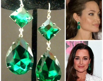 Emerald Earrings Angelina Jolie Kyle Richards LARGE Emerald green Teardrop Drop Estate Style Earrings