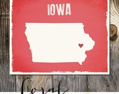 Iowa Custom Wedding Print Destination Wedding Gift Memento Marriage Couple print Signature Guest Books USA States Map Wedding Signature Map