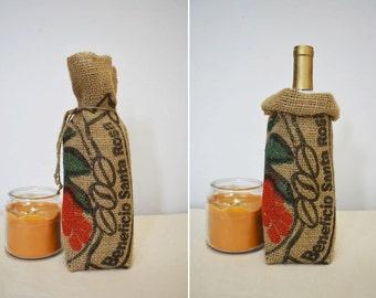 Burlap Wine Bag or Coffee Gift Bag Rustic Kitchen Decor