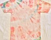 Plant dyed, men's small or women's medium tie dye T-shirt, vegan tshirt, pink, peach, yellow, blue earth friendly w no chemicals
