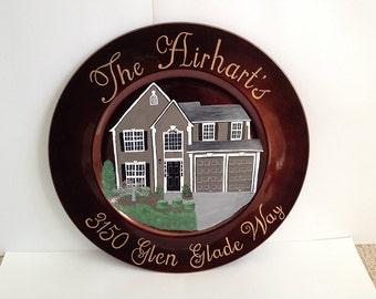 Custom Home Portrait on Decorative Plate