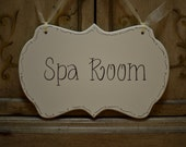 """Spa Sign / Spa Room Sign / Hand Painted Wooden Cottage Chic Sign, """"Spa Room"""" / Massage Sign"""
