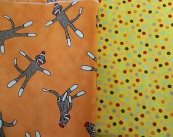 Funky Monkey, sock monkey fabric and matched polka dots