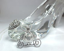 Pearl Cage Carriage Silver Plated Charm Necklace Princess Cinderella Pick A Pearl or Wish Pearl Epcot Pumpkin Locket