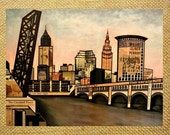 CLEVELAND OHIO Rust Belt Skyline Print