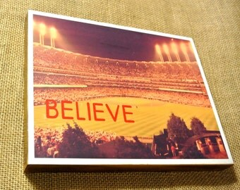 """CLEVELAND INDIANS """"The Jake"""" BELIEVE - 8x10 Handmade Wood Print"""