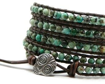 Turquoise wrap bracelet, Anne Choi sugar skull, Leather beaded bracelet, Rustic turquoise five wrap, stack bracelet, boho gift