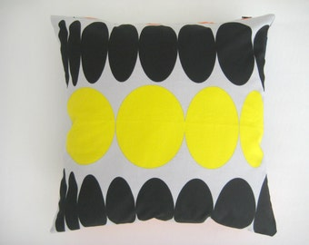 Cotton Pillow Cover - Eco-friendly Gray Fabric with Blue Orange Black Yellow Circles Print - Gift for Her, for Mom - Ready to Ship Decor