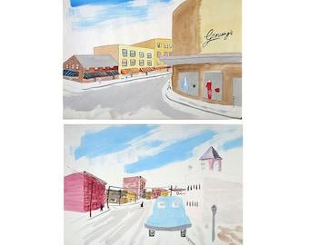 2 Danbury, Connecticut, c.1960, Vintage, Outsider Art, Folk Art, Original Watercolors, Genung's Dep't Store, Street Scenes, Great Condition