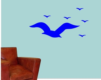 Seagulls Wall Vinyl Decal - Flock of Seagulls Wall Vinyl Decal, Seagulls Decal for Above Headboard, Seagulls Decal for Behind the Couch