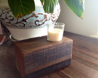 Rustic Reclaimed Wood Votive Candleholder- 6 inches