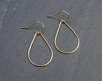 Teardrop earrings, gold hoop earrings, pear shape hoops, teardrop hoops, geometric earrings, sexy, modern jewelry, crash+duchess, aquarius
