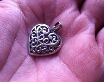 Sterling From the Heart Filigree Vintage Love Token Pendant Charm Says I Love You