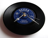 """ROLLING STONES CLOCK Choose your favourite song..made from a vintage 7"""" vinyl record, Retro, blue Decca label, 60s gift dad mum grandparent"""