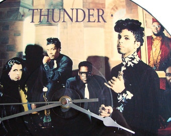 """PRINCE Vinyl Record CLOCK 12"""" single Prince And The New Power Generation. Thunder Picture Disc Recycled 1980s vintage pop gift for men women"""