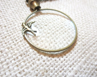 """Magnifying glass necklace - Owl Necklace- Magnifier -1.5""""-with  Bird, turtle,bee"""