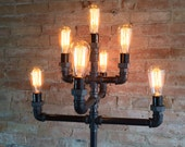 Floor Lamp - Multiple Edison Bulb- Industrial Style - Iron Pipe Lighting
