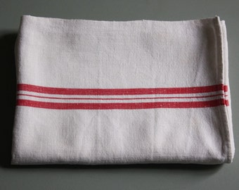 french towel, red striped linen tea towel