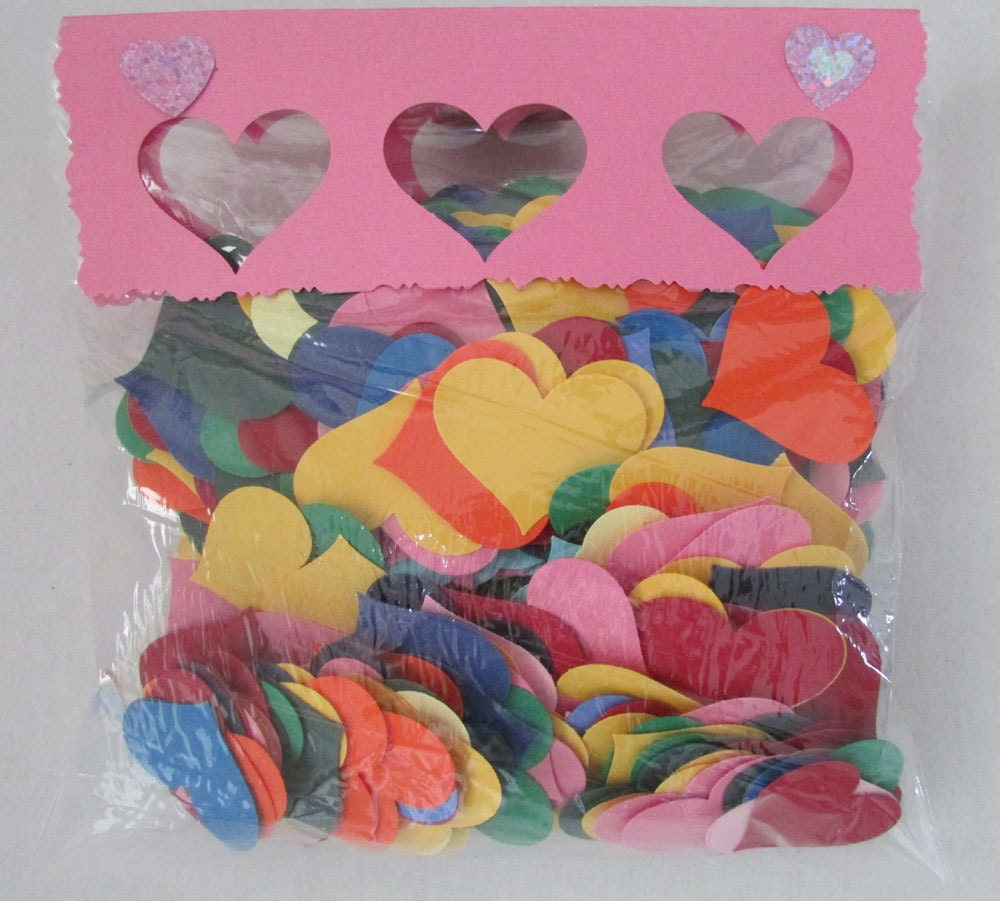 Multi color cardstock paper - Paper Hearts Cardstock Wedding Confetti Multi Color 500 Pieces Sold By Shredlock 9 95