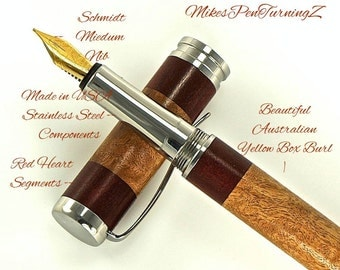 Custom Wooden Pen Custom Fountain Pen Yellow Box Burl with Red Heart Segments and Made In USA Stainless Steel Hardware 699FPSSF