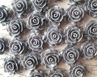 Gray Resin Roses, 6 pcs 18mm x 20mm Cabochon Flowers, Flat Back Roses, Bobby Pin Flowers,