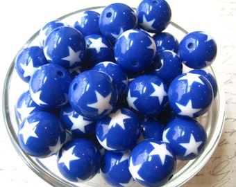 Blue Star Beads, 10 pcs Gumball Beads with Stars, 19mm Bubblegum Beads, Acrylic Bead, Chunky Necklace Bead