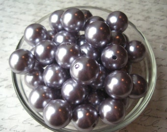 Lavender Gumball Beads, 18mm Pearl Bubblegum Beads, Faux Pearl Beads, 10 pcs, Acrylic Bead, Necklace Beads