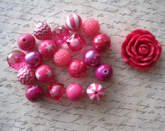 Chunky Necklace Kit, Hot Pink Gumball Bead Kit, Bubblegum Necklace Kit, DIY Necklaces, Fun Kids Project