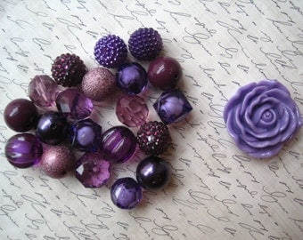 Purple Gumball Bead Necklace Kit, Chunky Bubblegum Necklace Kit, Hardware Included, DIY Necklace