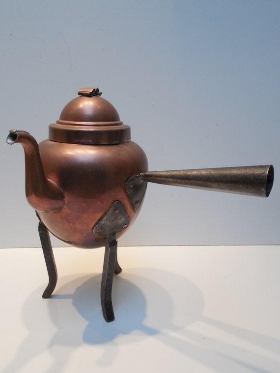 Vintage Arts Amp Crafts Copper Swedish Tea Pot With Iron