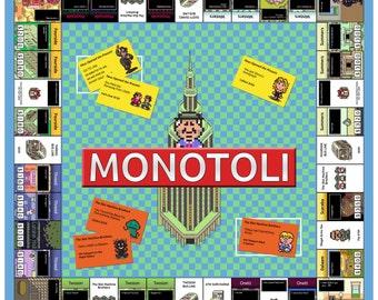 Video Game Art Print - Earthbound - Monopoly Tribute - Super Nintendo Tribute