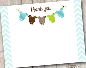 Baby Boy Chevron 1 Thank You Card - Digital File (Print Your Own) - INSTANT DOWNLOAD